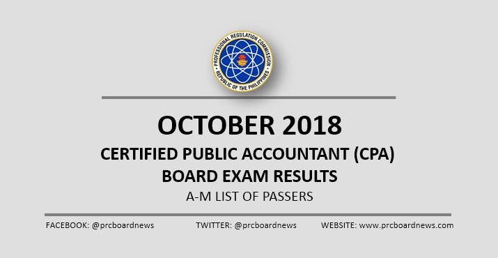 A-M LIST OF PASSERS: October 2018 CPA board exam results