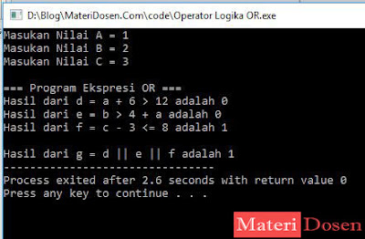 Contoh Program Operator Logika OR