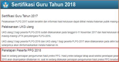 Pengumuman Hasil Pretest PPG 2018 di ap2sg.sertifikasiguru.id