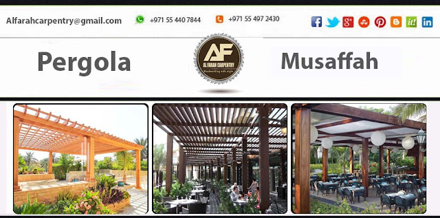 Project Done Wooden pergola At Musaffah Abu Dhabi