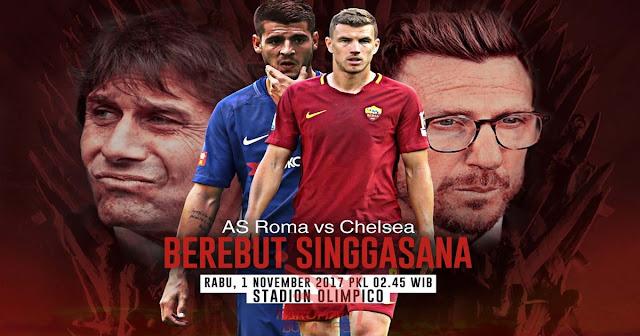 Prediksi Taruhan Bola 365 - AS Roma vs Chelsea 1 November 2017