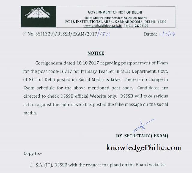 DSSSB Clarification Regarding Fake Postponement Notice (Primary Teacher - MCD)
