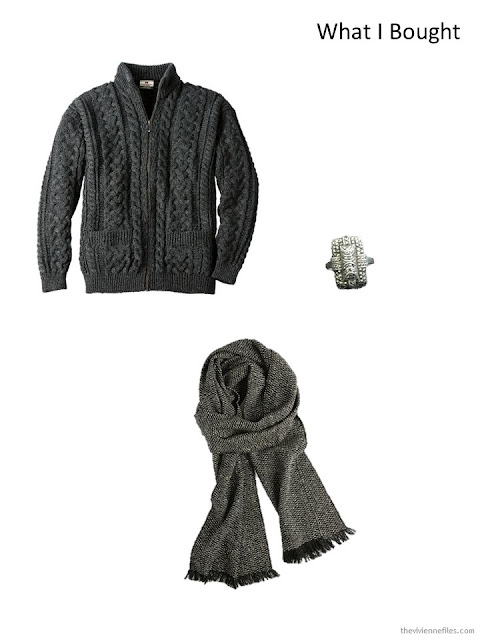 Charcoal Aran cardigan, antique marcasite & sterling ring, black tweed scarf