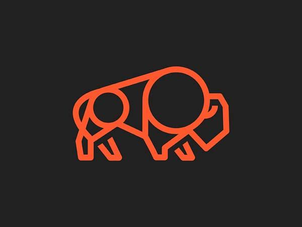 Inspirasi Desain Logo Monoline 2017 - Buffalo 2 Monoline Logo
