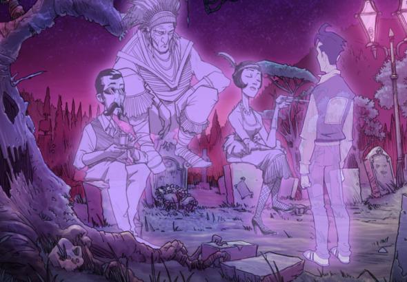 Tres fantasmas reposan sobre unas lápidas ante Pizzaboy, también con aspecto de fantasma.