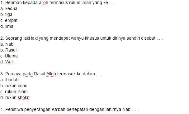 Soal UKK Pendidikan Agama Islam SD Kelas 5 Semester 2 Kurikulum KTSP