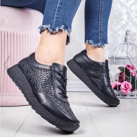 Pantofi sport dama Piele naturala de calitate negri pret mic
