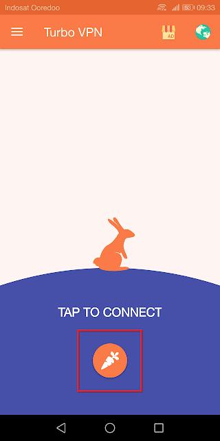 klik 'tap to connect' untuk menyambungkan jaringan vpn
