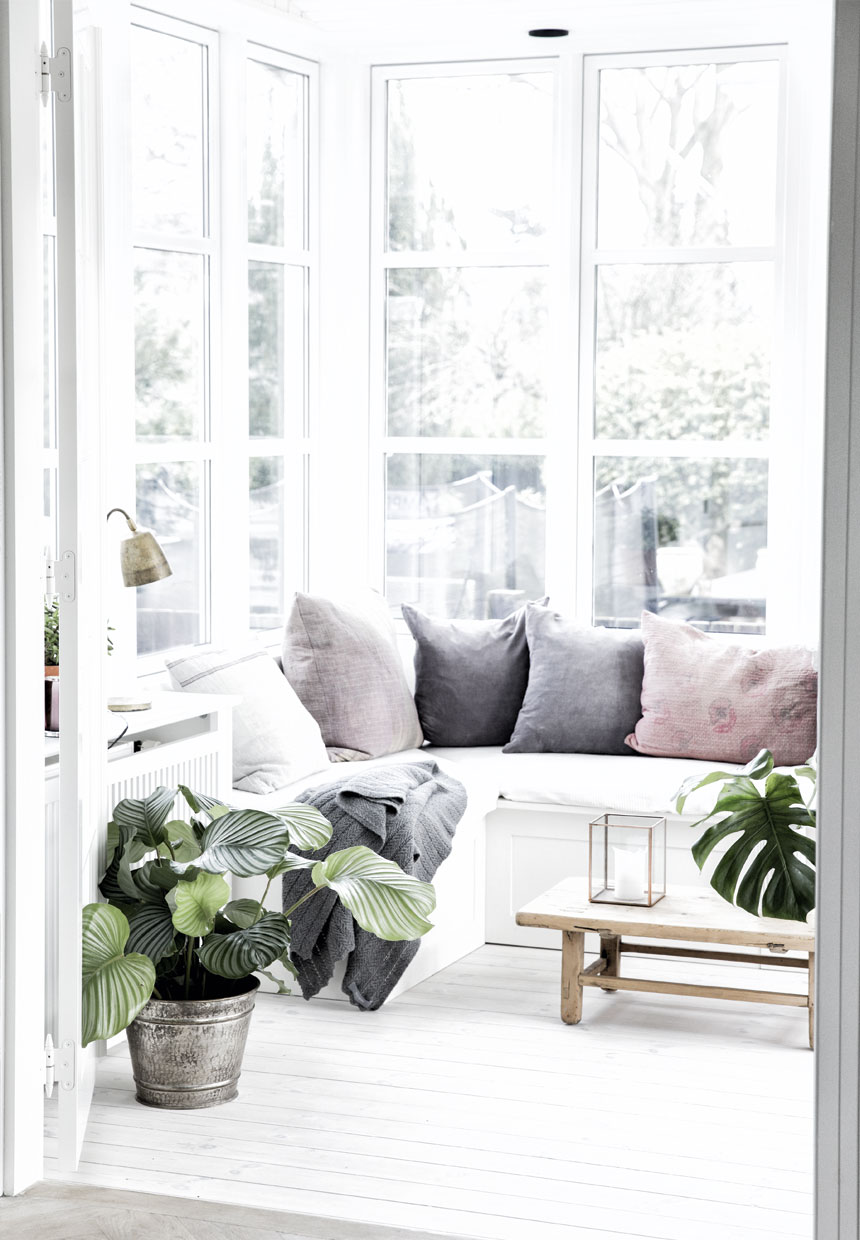 cozy corner with houseplants in Nordic villa interior rustic coffee table, pillows