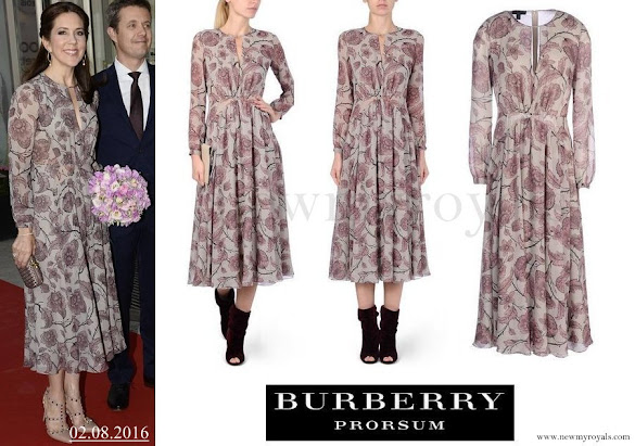Crown Princess Mary wore Burberry Prorsum Floral Silk Georgette Dress