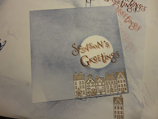 Houses with a moon above, Season's Greetings sentiment with drop shadow