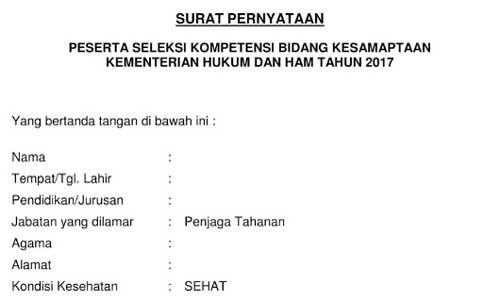 Contoh Surat Pernyataan Seleksi Kesamaptaan CPNS Kemenkumham