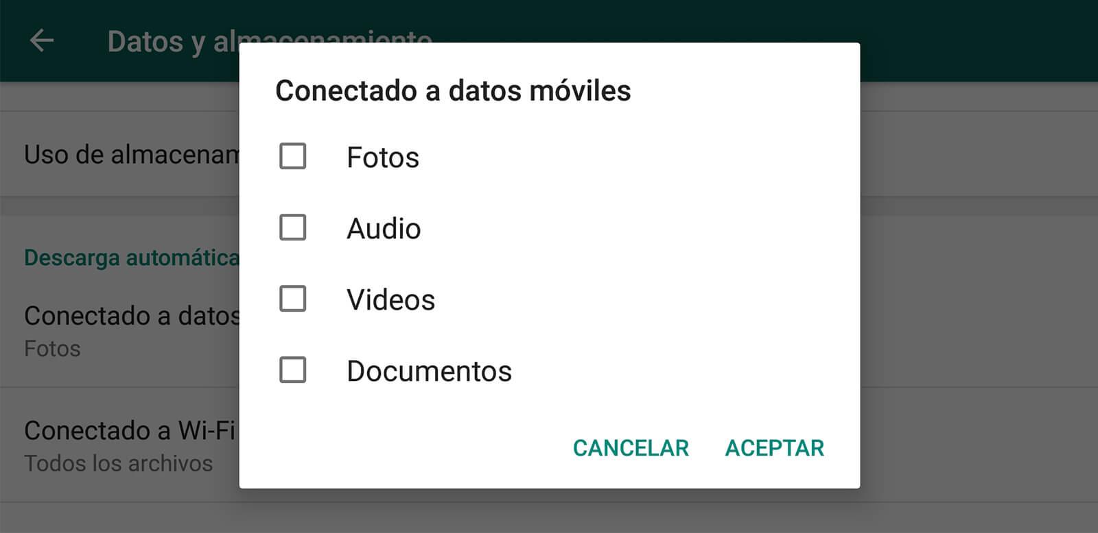 Configuración de datos móviles para WhatsApp
