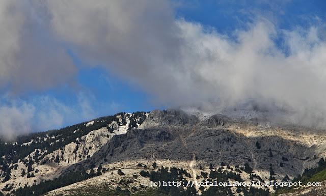 It's snowing on Mt. Aenos, Kefalonia