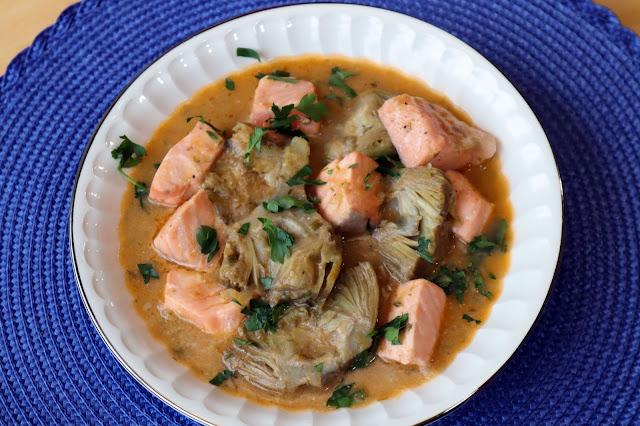 Guiso de Alcachofas con salmón
