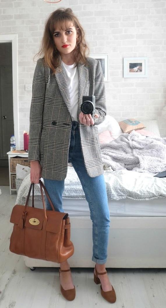 Maxi-blazer - xadrez Príncipe de Gales - com jeans