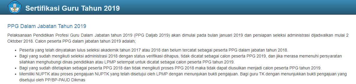 Jadwal dan hasil PPG tahun 2019