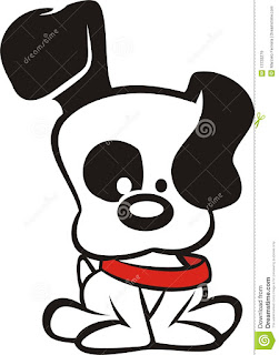 Black White Cartoon Dog