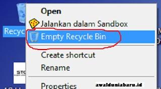 Delete File Sampah di Recycle Bin
