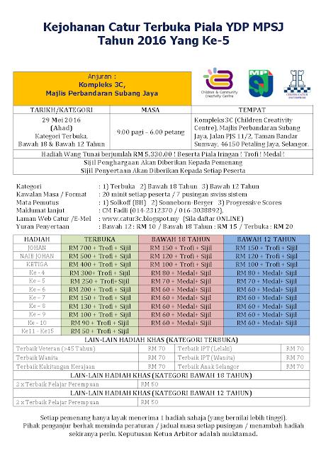 Kejohanan Catur Terbuka Piala YDP MPSJ 2016 ke-5