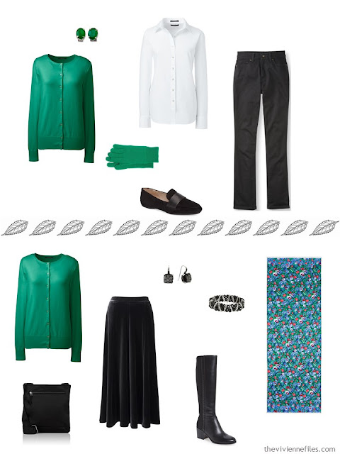 2 outfits from a capsule wardrobe, including a green cardigan sweater