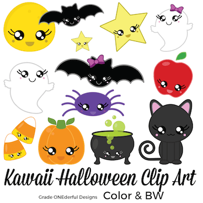 Halloween clip art: pumpkin, cat, ghosts, candy, spider, bat and more!