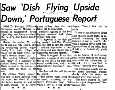 Saw 'Dish Flying Upside Down,' Portuguese Report - Morning Star (Rockford, IL) 7-13-1965