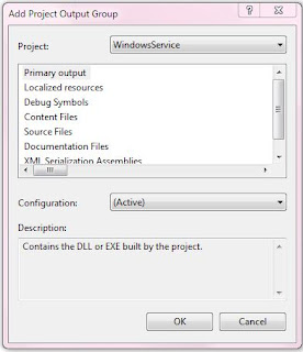 Add Project Output Group (Windows Service project)