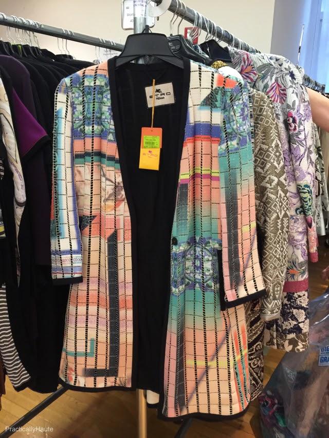 Etro sample sale line print long jacket