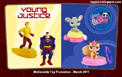 McDonalds Young Justice and Littlest Pet Shop happy meal toy promotion 2011
