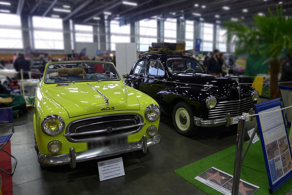 Exposition Historic Auto à la beaujoire de Nantes, salon du véhicule de collection, cabriolet 403