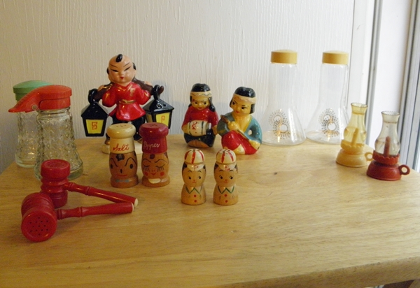 vintage salt and pepper shaker collection for a retro kitchen