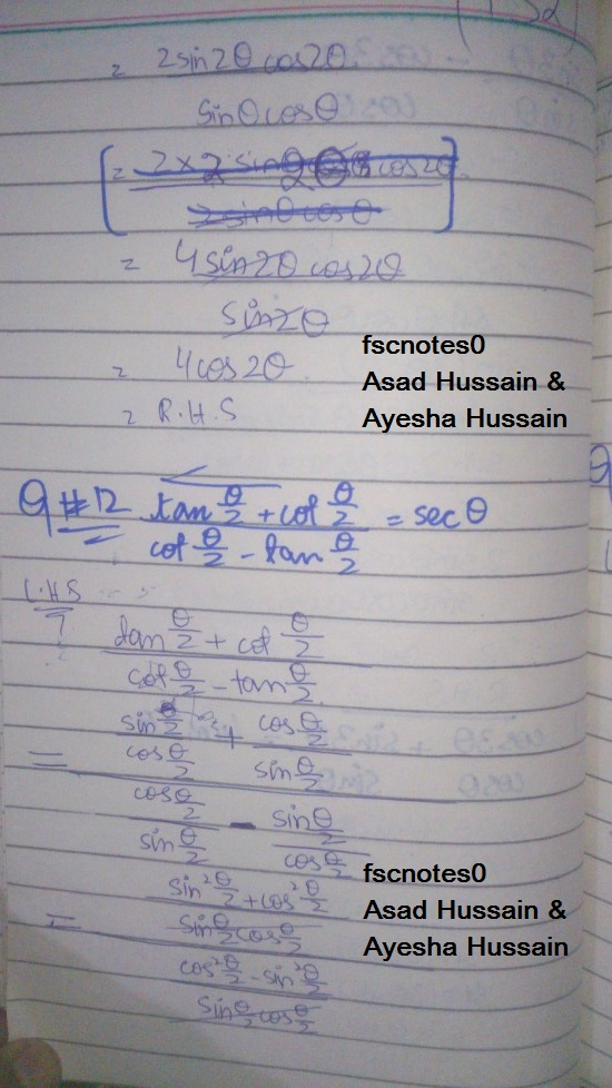 FSc ICS FA Notes Math Part 1 Chapter 10 Trigonometric Identities Exercise 10.3 Question 9 - 13 Written by Asad Hussain & Ayesha Hussain 2