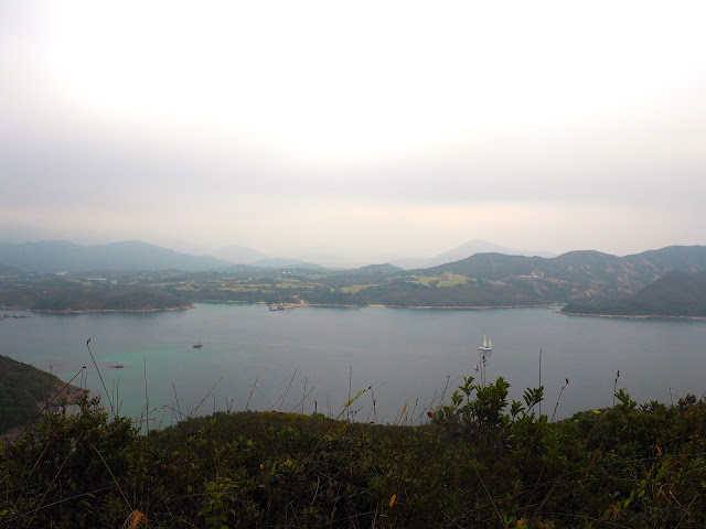 Ocean and islands view from the hiking trail on Sharp Island, Hong Kong