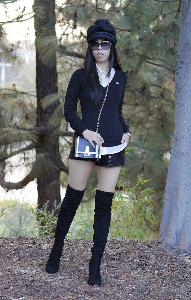 Adrienne Nguyen_Invictus_All Black Outfit_Black Sequin Tap Shorts