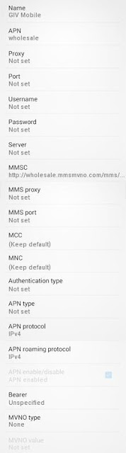 GIV Mobile APN Settings for Android