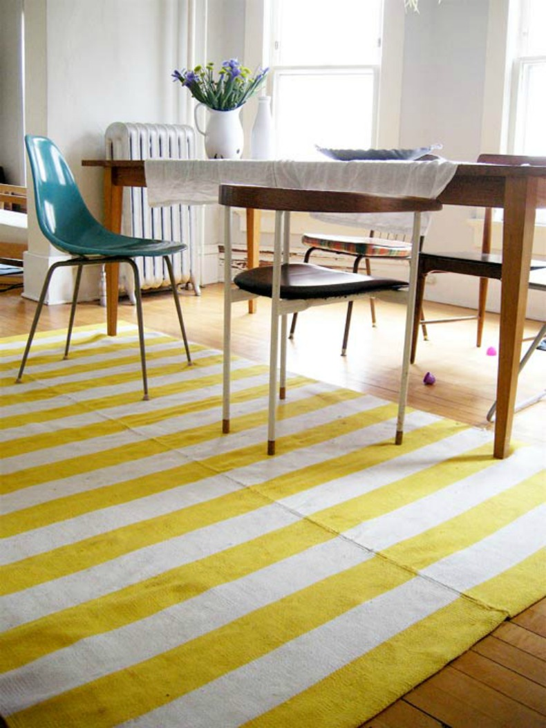 Coastal yellow and white stripe area rug
