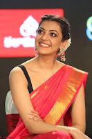 Kajal Aggarwal in Red Saree Sleeveless Black Blouse Choli at Santosham awards 2017 curtain raiser press meet 02.08.2017 078.JPG