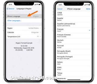 pengaturan mengganti menu bahasa iphone