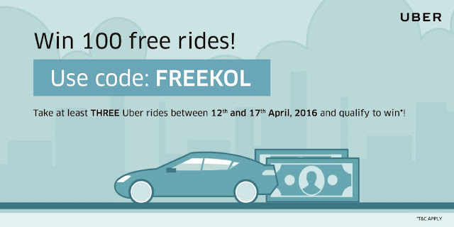 Uber Promotions Contest (April 12 to 17) to win 100 Free Rides