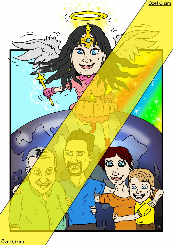 Anneye Doğum Günü Hediyesi Karikatürü,aile resmi çizimi, Karikatür Çizimleri, karikatür, Hediye, anneye hediye, Karikatür Çizdir, aile karikatürü, Hediye Çizim, annelere özel, Farklı Hediye, Özel Çizim,