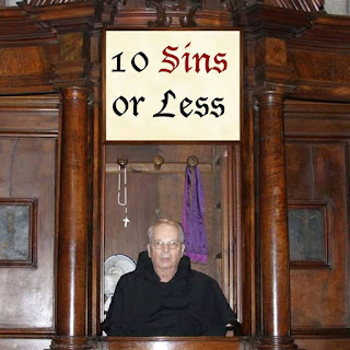 Funny 10 sins or less confession booth catholic joke picture
