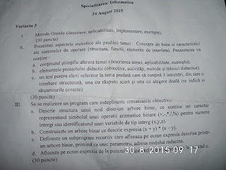 Subiecte informatica 2015 - grad didactic II Constanta