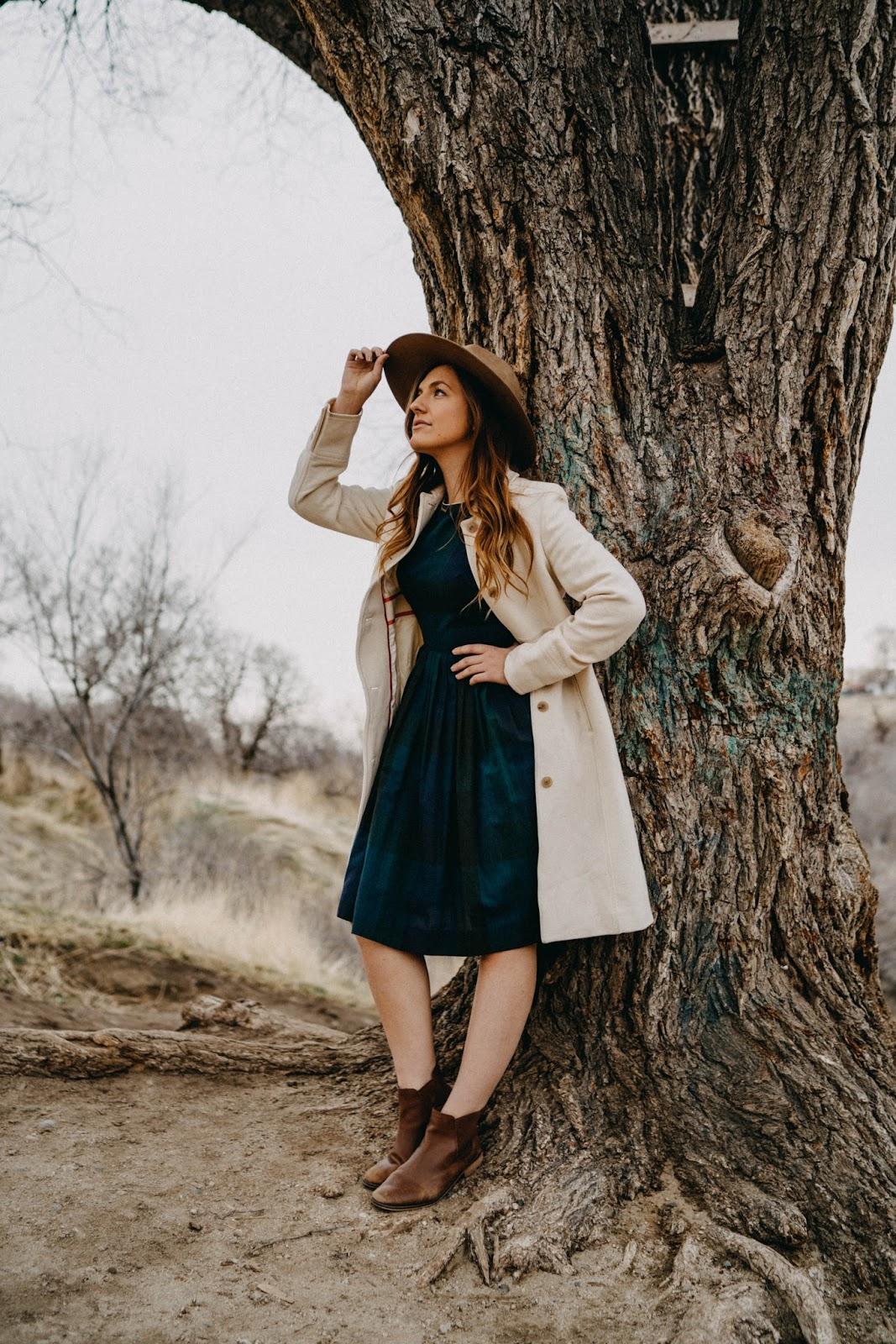 vintage dress tree portrait