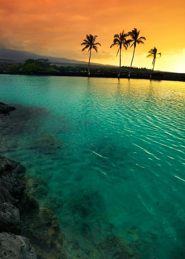 Sunset At Kiholo Bay On The Kohala Coast Of The Big Island