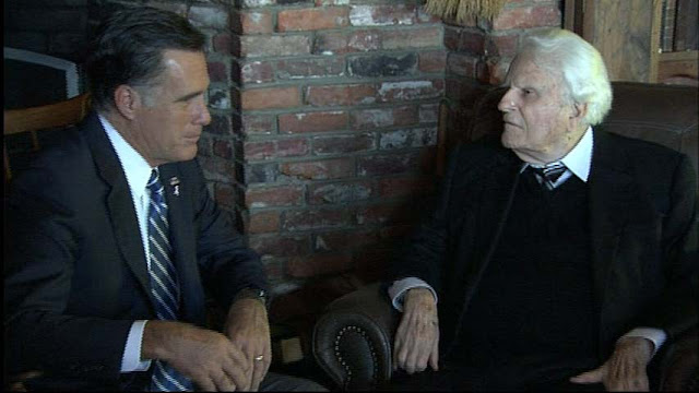Rev. Billy Graham and Mitt Romney meet - Billy Graham endorses Romney