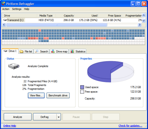 Piriform Defraggler allows selecting files to defrag from file list