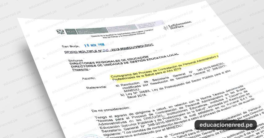 OFICIO MÚLTIPLE N° 045-2018-MINEDU/VMGI-DIGC - Cronograma del Proceso de Contratación de Personal Administrativo y Profesionales de la Salud para el Año 2019 - www.minedu.gob.pe