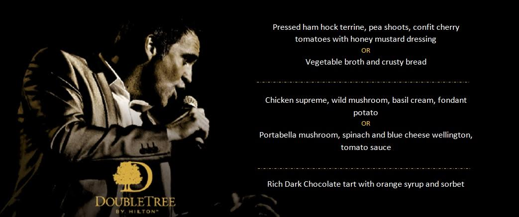 A grown-up date night at Doubletree by Hilton Newcastle Airport with a night of swing and sax with Jason Isaacs in the function room.  - menu options