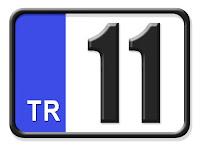 Bilecik ilinin plakası olan 11 kodunu gösteren küçük plaka